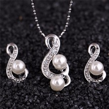 2017 music note happy gift women brand bridal Kate queen Simulated Pearl pendant Necklace Earrings chain Jewelry setsG216