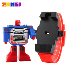 2016 SKMEI Kids LED Digital Children Watch Cartoon Sports Watches Relogio Relojes Robot Transformation Toys Boys Wristwatches(China)