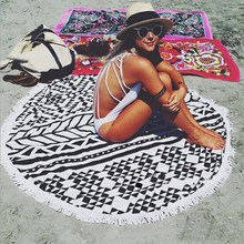 2017 New Summer Large Microfiber Printed Round Beach Towels With Tassel Circle Beach Towel Serviette De Plage