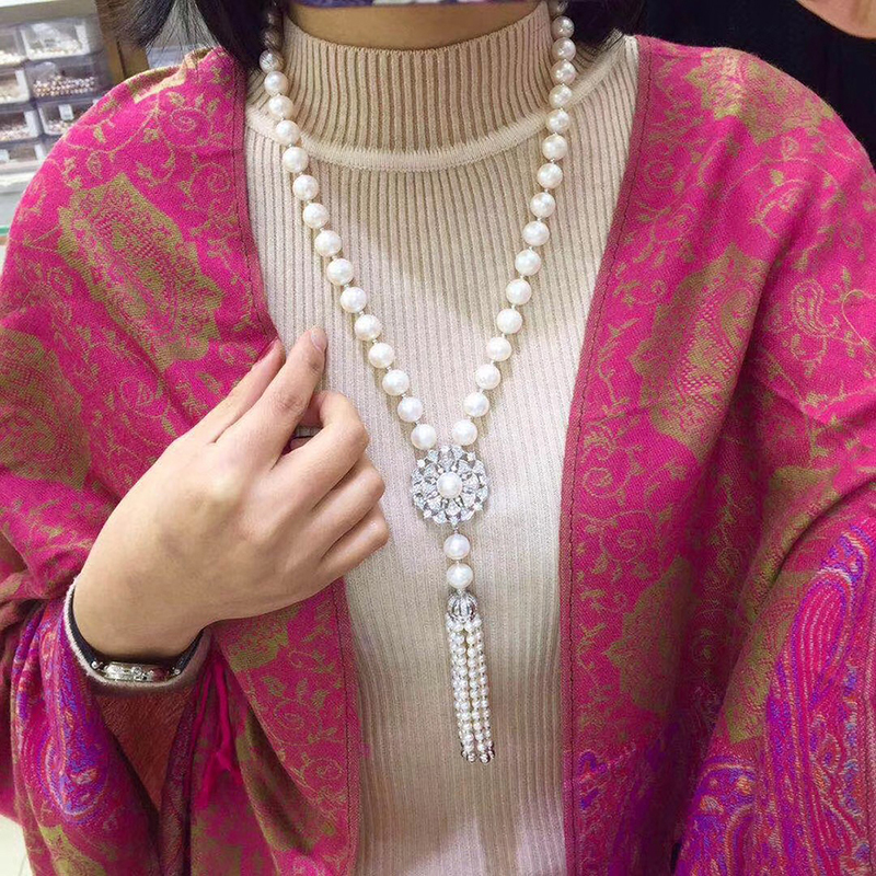 Sinya Tassels fashion Sweater chain Natural pearls Strand long necklace for Women Mum lover gold or white gold color optional (2)