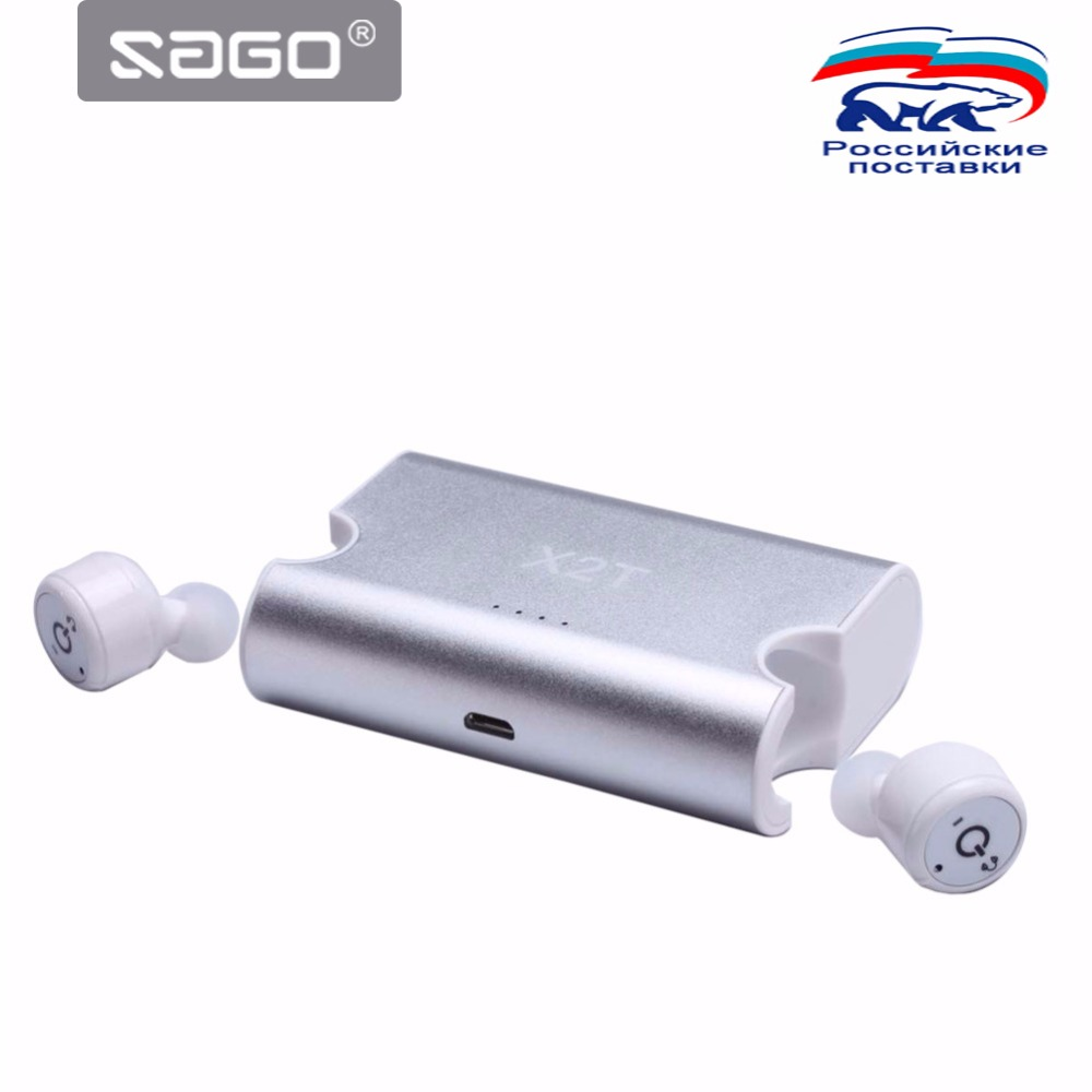 SAGO True Wireless Bluetooth Earbuds,Portable BT 4.2 Earphone Stereo Surround Sound Earphone with Charge Box for iPhone Samsung <br>