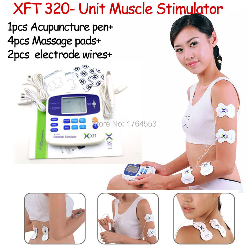 Dual Tens Machine Digital Massage XFT-320A +4 Pads+ Acupuncture Pen Low Frequency Therapeutic Stimulator Body Slimming Massager(China)