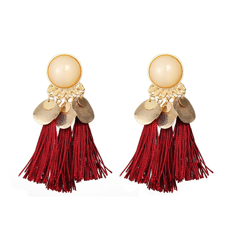 2018 Trendry Earrings for Women Bohemian Fashion Weave Tassel Earrings Long Drop Earrings Jewelry for gift Brincos J05#N (1)