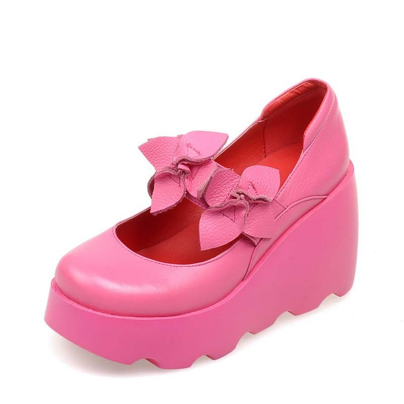 Airfour3 colors girl Sale Flowers Casual Round Toe Spring / Autumn Women Pumps Shoes Women Platform Pumps Wedges High quality<br><br>Aliexpress