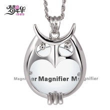 Dreamcarnival1989 Owl Long Crystals Necklaces Magnifier Len Reading Rhodium or Gold-color Gift for Mother Colar de pingente lupa