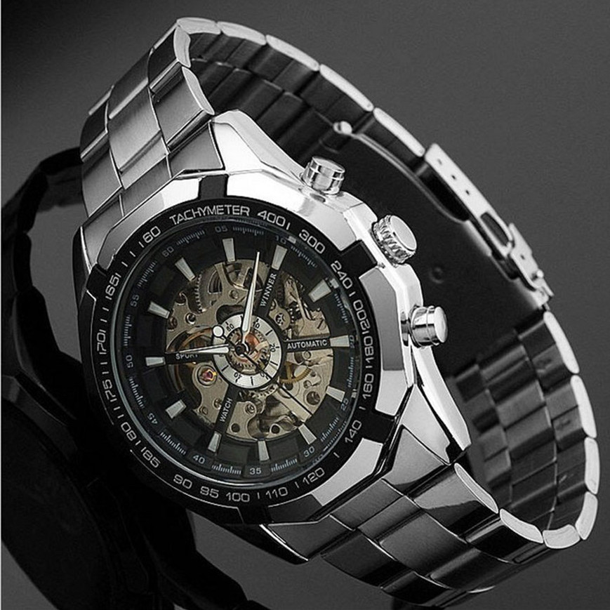 Top Quality Skeleton Automatic Watches For Men Luxury Silver Stainless Steel Band Analog Wrist Watch Relogio Masculino<br><br>Aliexpress