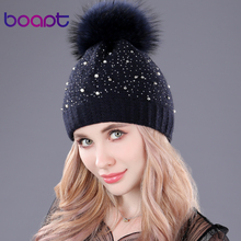 [boapt] pearl diamond with double-deck thick knitting wool winter hat women caps genuine raccoon fur pompon ladies hats beanies(China)