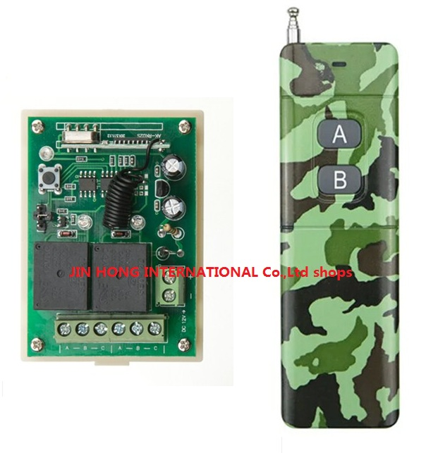 DC12V 2CH RF Wireless Remote Control System teleswitch Camouflage colors transmitter r universal gate remote control<br><br>Aliexpress
