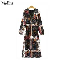 Vadim women V neck floral pattern dress patchwork pleated long wide sleeve loose casual mid calf dresses vestidos QZ3265(China)