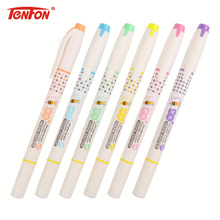 TENFON 6PCS/set Double Head Highlighter Double Colored Pen School Highlighter School Supplies Markers H-2290(China)
