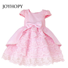 Long Sleeve children dresses girls princess wedding party elegant flower girl dresses princess pink white Kids Baby Dress(China)