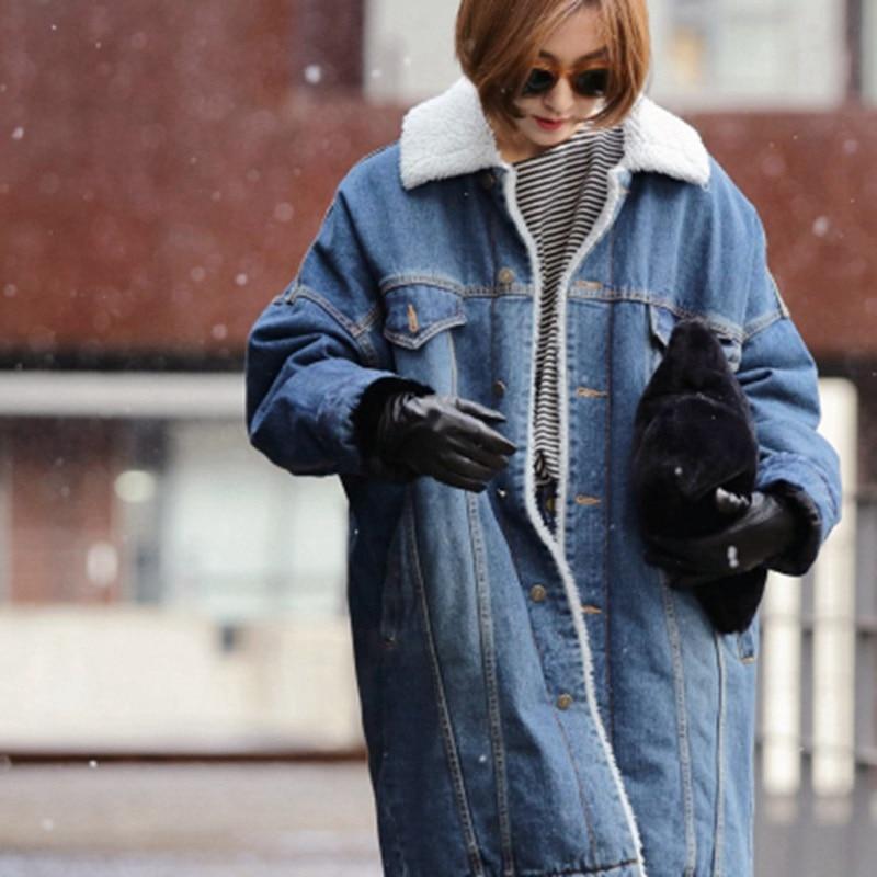 NIBESSER Autumn Winter Warm Oversize Long Denim Parka Coat Women Single Breasted Jacket 2017 New Outwear Coat Female OvercoatÎäåæäà è àêñåññóàðû<br><br>