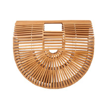 Hollow Out Bamboo Handbags Luxury Designer Beach Bags Handmade Wood Clutches Summer Vintage Boho Chic Straw Totes for Women A17