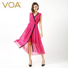 VOA summer sexy red v collar sleeveless silk dress female kimono slim silk pleated dress A6585