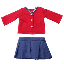 1set 18 Inch American Girl Doll Suits Red Blouse And Mini Skirt Children DIY Dress Up Barbie Clothes Doll Girl Skirt ingbaby
