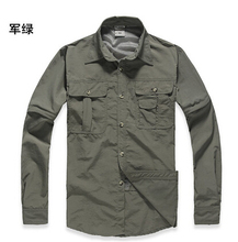 2016 New Outdoor Brand Hiking Shirt Men Removable Quick Dry Breathable Shirt UPF50+ Summer Hiking Camping Fishing Free Shipping(China)