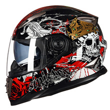 GXT SKULL Moto helmet winter Double visor Men motorcycle full face helmets motorbike M L XL size Racing helmet(China)
