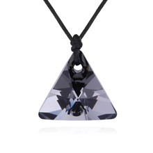 Ms betti new arrival black traingle pendant necklace silver night crystals from Swarovski good for Valentines Day gift(China)