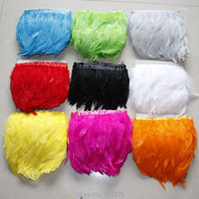 Free Shipping 2M/ 10 colors dyed Rooster Hackle Chicken Feather Trim 10-15cm Saddle Feather Ribbons Chicken Feather trimming