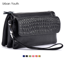 Urban Youth Genuine Leather Crossbody Bag Small Bag for Women Double Zipper Clutches Wallet Hand Bag Mini Shoulder Messenger Bag