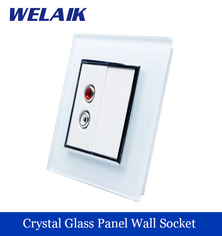WELAIK Wall Audio Outlet Crystal Glass Panel Socket Audio jack with Plug Freeshiping A18AFW<br><br>Aliexpress