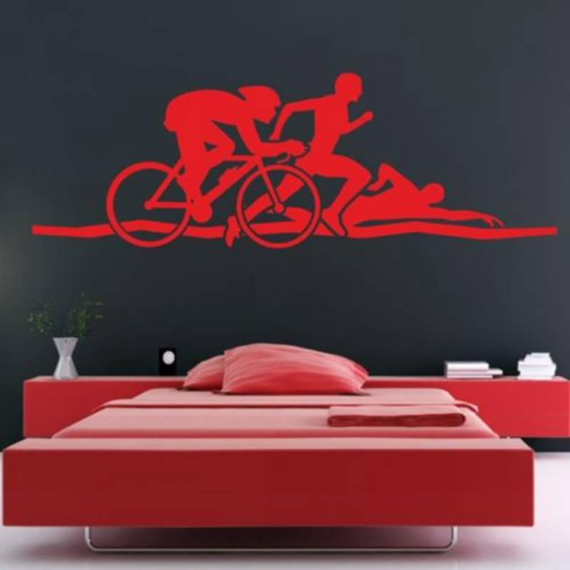 Triathlon Sticker Logo Name Swimmer Decal Swimming Posters Vinyl Wall Decals Pegatina Quadro Parede Decor Mural Swim Sticker
