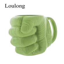 Originality Marvel Hero The Incredible Hulk's Fist Gift Packing Green Giant Film Cool Cup Ceramics Beer Coffee Tea Unique Mugs(China)