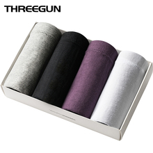 Buy THREEGUN 4pcs/lot Men Underwear briefs Solid 100% Cotton Briefs Men's Breathable Panties Plus Size Comfortable Free shipping