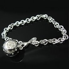 Sterling Silver 925 Jewelry 925 Sterling Silver Circle Link Chains Stat Ball Silver Cuff Bangles Bracelets H043
