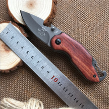 5CR13MOV Blade Survival Knife BUCK Folding Knife Wood Handle Pocket Hunting Tactical Knives Camping Outdoor EDC Tools bK09(China)