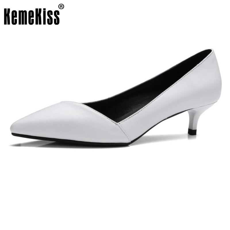 KemeKiss Ladies Genuine Leather Heels Pumps Sexy Female Pointed Toe Slip On Pumps Shallow Shoes Women Office Footwear Size 33-41<br>