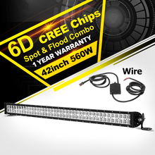 "Oslamp 42"" 560W CREE Chips 6D LED Light Bar Combo Beam Led Work Light Bar Offroad Led Bar for Truck SUV 4WD 4x4 Pickup 12v 24v"