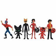 6Pcs Miraculous Ladybug 3.5-5.5Inch PVC Figures Toys Kids Collection Doll Gift