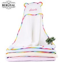 100% Cotton Personalized Customized Newborn Swaddle Baby Wrap Blanket Bath Towels Sleeping Bag boys girls Shower Sack Embroidery