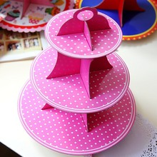 Pink Polka Dots Theme 3 Tier Cake Stand Birthday Kids Favors Party Cupcake Holder Decoration Cardboard Baby Shower Supplies 1pcs