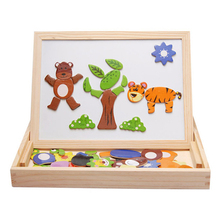 Multifunctional Wducational Wooden Magnetic Puzzle Toys For Children Kids Gifts Wooden Toys Jigsaw Baby's Wrasable Drawing Board