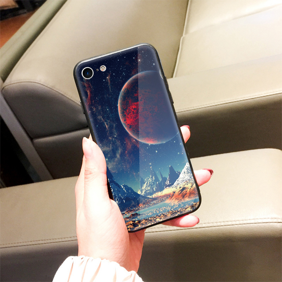 TOMKAS Star Sky Pattern Glass Case For iPhone X 7 8 6 6 s Cover Phone Cases For iPhone 7 8 6 6s Plus X Case Silione TPU PC Coque (16)