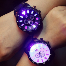 Fashion Lovers Couples LED Quartz Watch Colorful Light Scale 3 Dials PU Leather Big Dial Luminous Wristwatch Clock Gifts LL@17