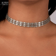 Fashion jewelry antique silver color choker necklace gift for women girl N1927(China)