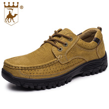 Sneakers Hiking Shoes Walking Shoes Men Genuine Leather Rubber Anti-skid Wear-resistant Soles Lace CALTUS Camel Breathable 8606(China)