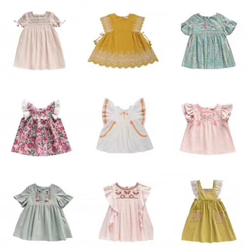 2018 New Pre-sale April Baby Girls Embroidery Summer Dress Cotton Linen Girls Dress Boutique Baby Costume <br>