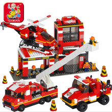 Building Blocks Compatible with legoe NEW City Fire Department emergency fire engine helicopter duplo original series toy