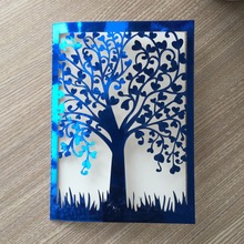 50pcs/lot Laser cut paper metallic gold unique tree wedding invitation card wedding greeting cards wholesale wedding invitations(China)