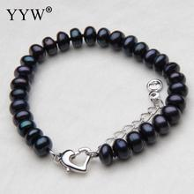 Free Shipping 7 Inch Freshwater Cultured Pearl Bracelet Women Wholesale Jewelry black Freshwater Pearl Bracelets Women Jewelry