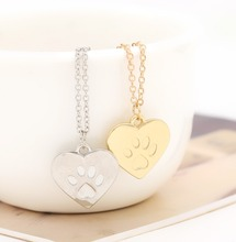 Paw prints Necklace Fashion Simple Gold Silver Color Heart Pendant Necklace for pet dog lovers Animal Jewelry Gift Wholesale