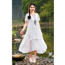 2016 Hot Sale Summer Dress Women Casual Loose Vestidos O Neck Boho Cotton Linen Long Dresses Plus Size M L XL DM#6