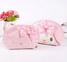 Super Kawaii Bright PU Hello Kitty , Melody Rabbit Women's Hand Coin Bag Handbag , 14*12CM Coin Wallet Purse Pouch Case