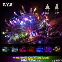 10M New Year 220V 110V Led Flasher String Light Chain Christmas Tree Party Fairy Lights Outdoor Led Hallowen Wedding Decorations(China)