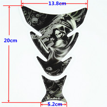 30PCS Free Shipping Decale Harley QJC0236 Motorcycle Skull Tank Pad Protector Sticker Carbon Fiber wholesale(China)