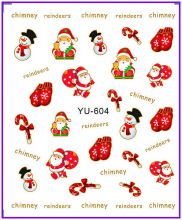 1X  Nail Sticker Cute Xmas Santa Clause Water Transfers Stickers Nail Decals Stickers Water Decal Opp Sleeve Packing YU604